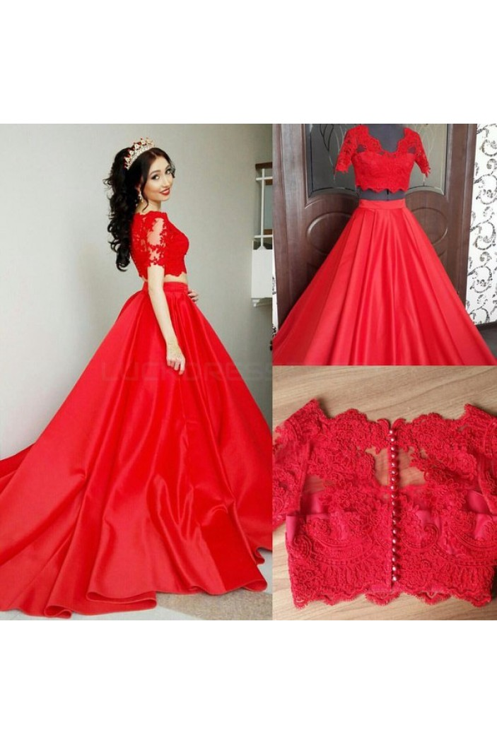 Long Red Two Pieces Lace Prom Formal Evening Party Dresses 3021149