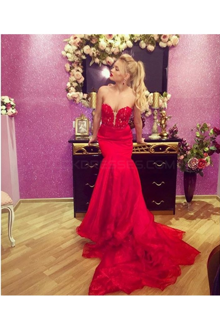 Mermaid Long Red Lace Prom Formal Evening Party Dresses 3021150