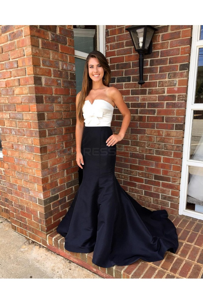 Black White Mermaid Long Prom Formal Evening Party Dresses 3021151
