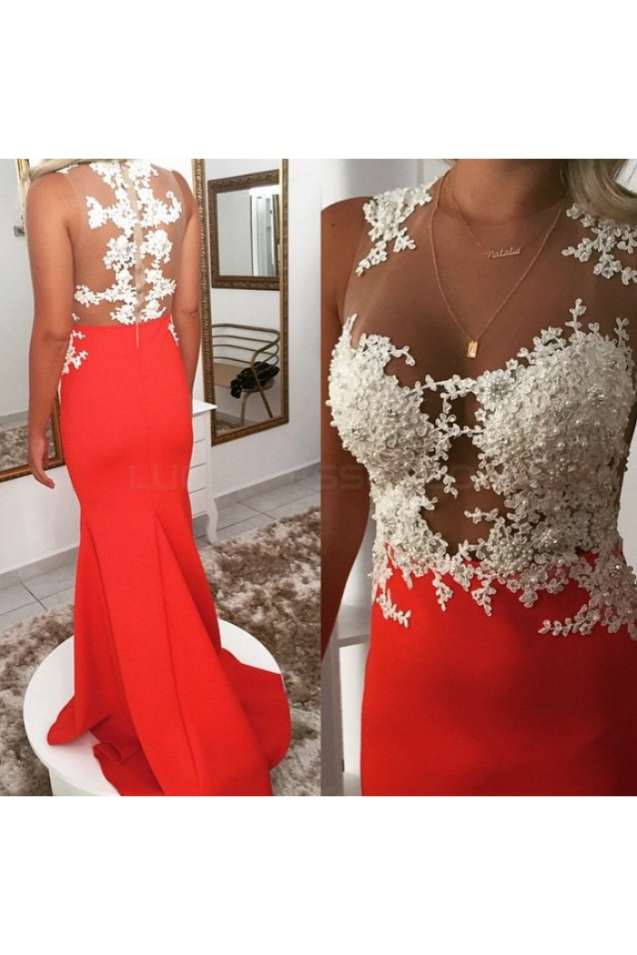 Long Red Lace Beaded Prom Formal Evening Party Dresses 3021152