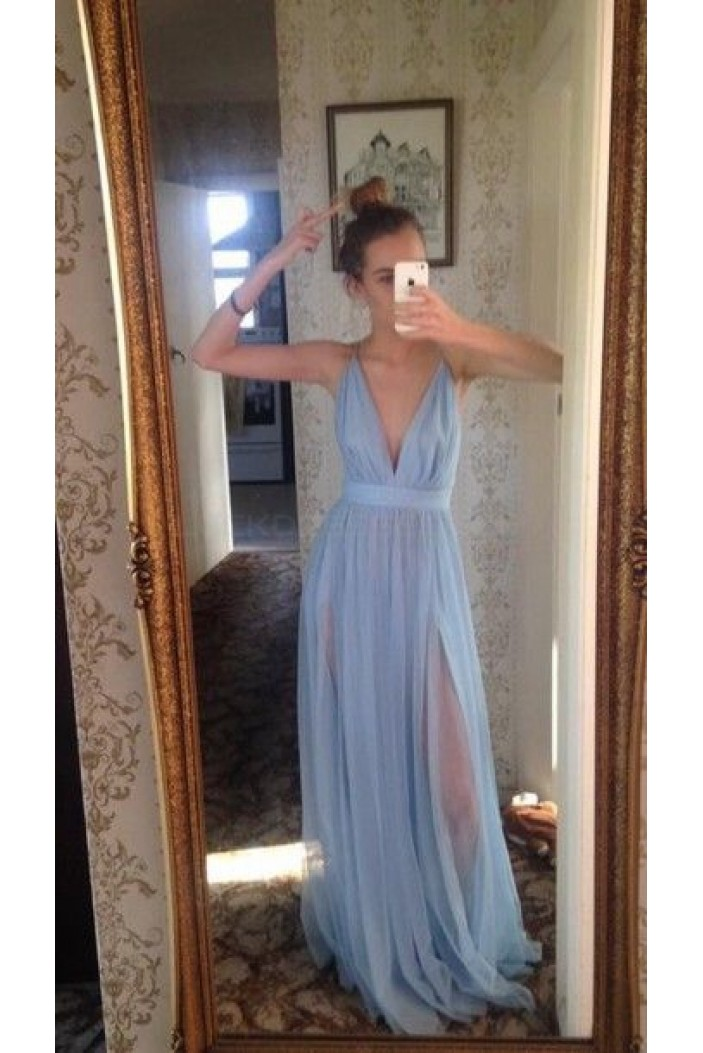 Long Blue V-Neck Prom Formal Evening Party Dresses 3021154