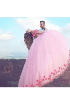 Long Pink Off-the-Shoulder Ball Gown Prom Formal Evening Party Dresses 3021155