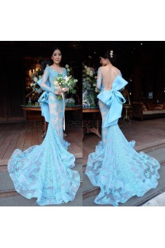 Mermaid Long Blue Lace Prom Formal Evening Party Dresses 3021156