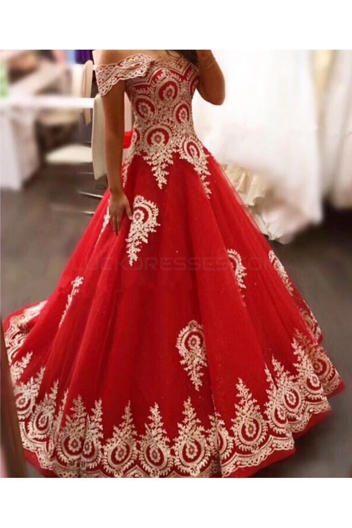 Long Red Off-the-Shoulder Ball Gown Prom Formal Evening Party Dresses with Gold Lace Appliques 3021158
