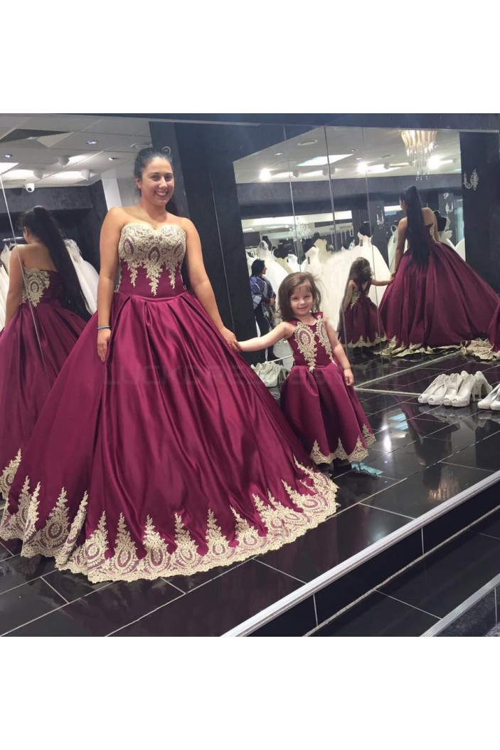 Long Burgundy Ball Gown Prom Formal Evening Party Dresses with Gold Lace Appliques 3021159