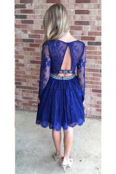 Beaded Lace Two Pieces Long Sleeves Prom Formal Evening Party Dresses 3021162