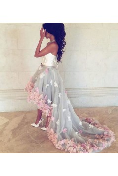 High Low Prom Formal Evening Party Dresses with Handmade Flowers 3021164