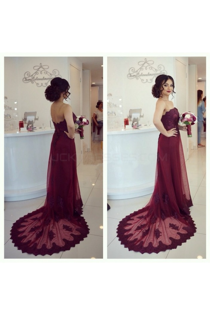 Long Burgundy Lace Prom Formal Evening Party Dresses 3021165