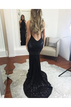 Long Navy Blue Sequins Prom Formal Evening Party Dresses 3021166