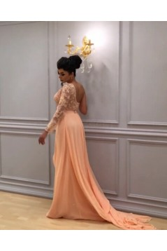 Long Chiffon One Sleeves Lace Prom Formal Evening Party Dresses 3021167