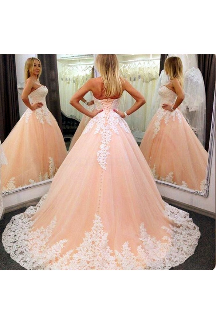 Ball Gown Lace Appliques Prom Formal Evening Party Dresses 3021168