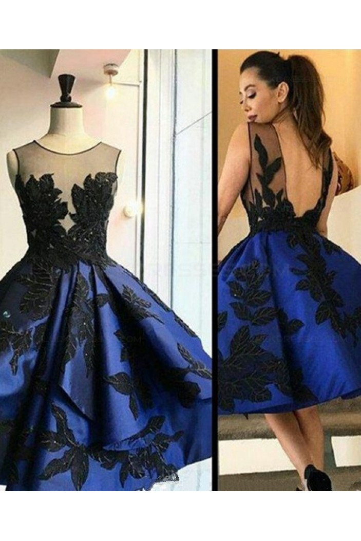 Short Royal Blue See Through Homecoming Prom Evening Formal Dresses 3020117