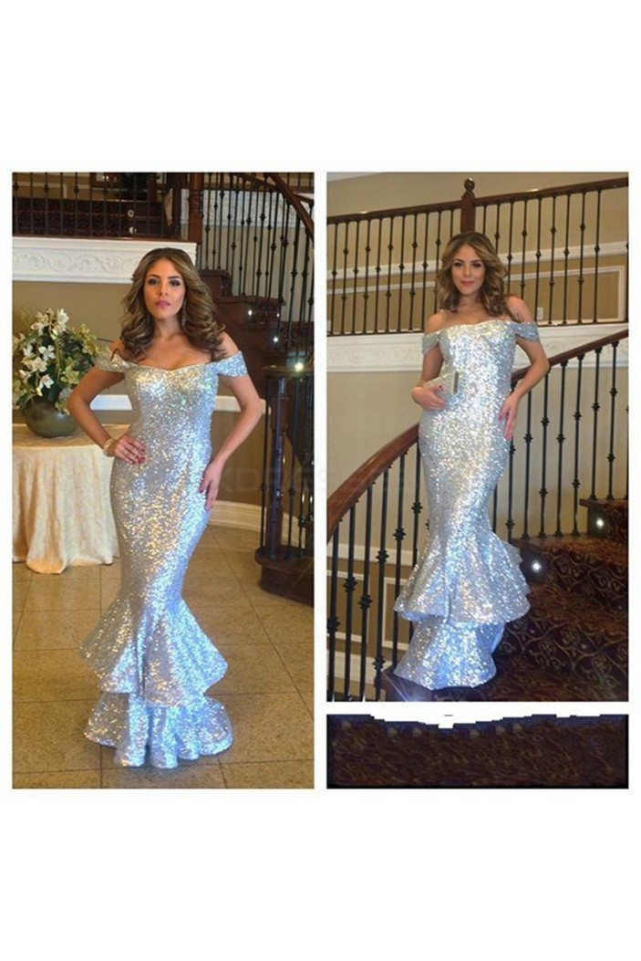 Mermaid Off-the-Shoulder Sequins Long Prom Formal Evening Party Dresses 3021170