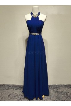 Long Blue Beaded Prom Formal Evening Party Dresses 3021173
