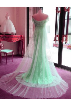 Mermaid Off-the-Shoulder Mint Green Lace Tulle Prom Formal Evening Party Dresses 3021174