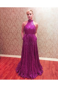 High Neck Sequins Long Prom Formal Evening Party Dresses 3021177
