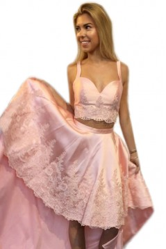 High Low Short Pink Lace Prom Formal Evening Party Dresses 3021178