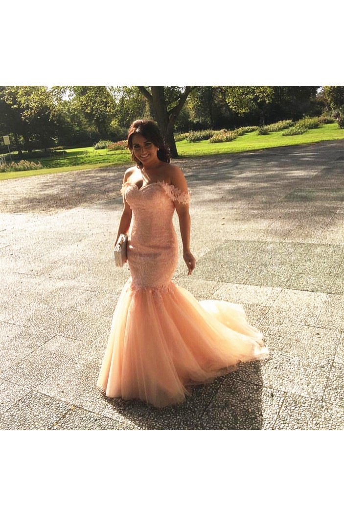 Mermaid Off-the-Shoulder Lace Tulle Long Pink Prom Formal Evening Party Dresses 3021179