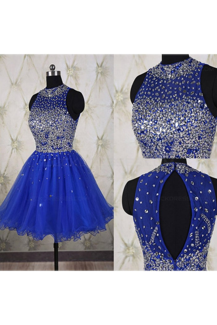Beaded Sequins Short Royal Blue Prom Evening Homecoming Cocktail Dresses 3020118