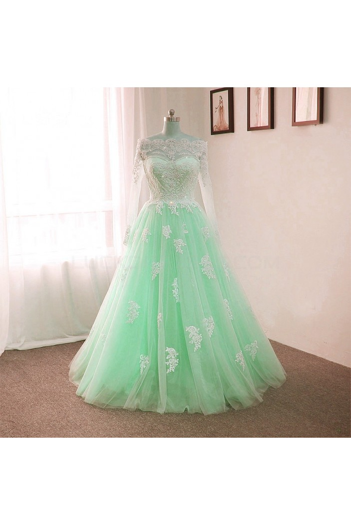 Long Sleeves Lace Mint Green Prom Formal Evening Party Dresses 3021181