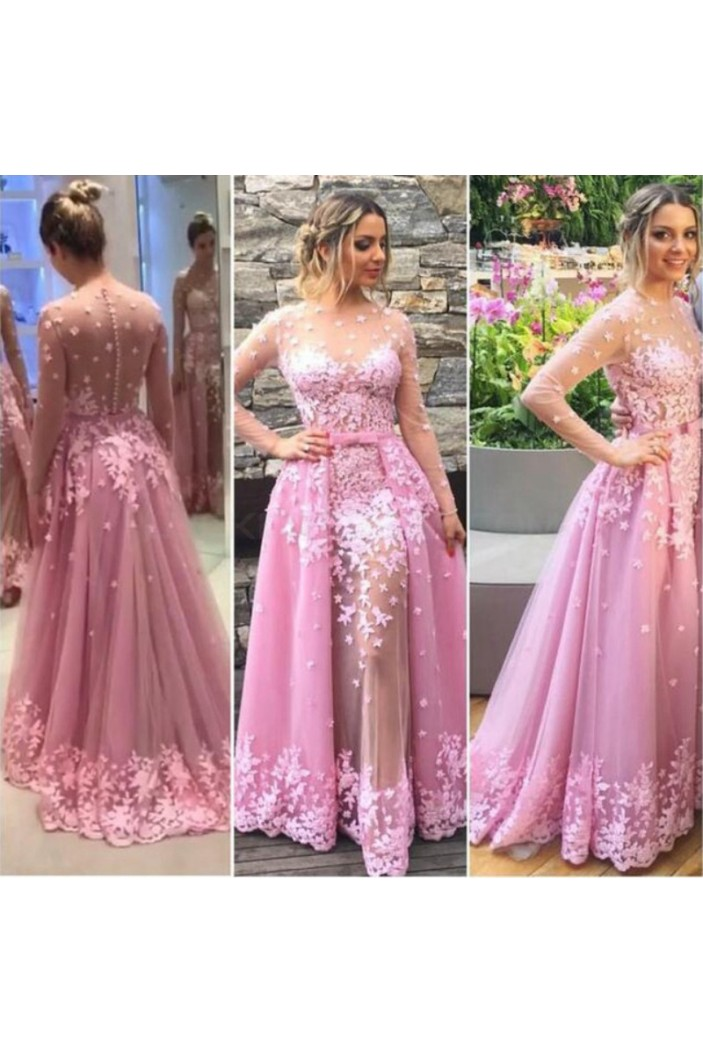 Long Pink Lace Long Sleeves Prom Formal Evening Party Dresses 3021182