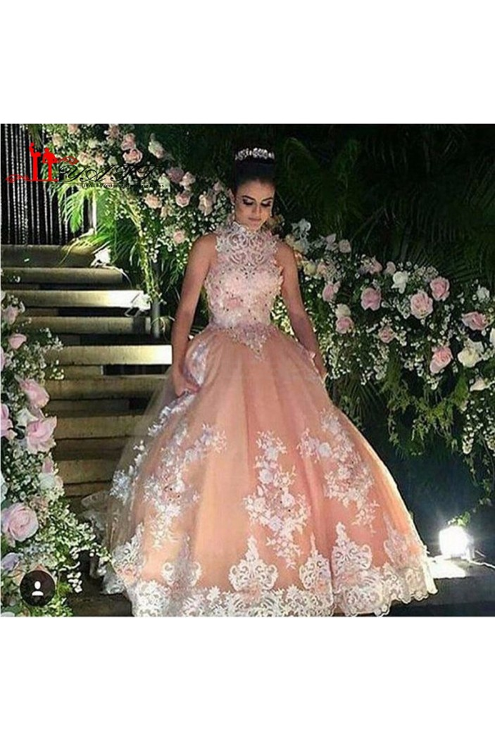 High Neck Beaded Lace Ball Gown Prom Formal Evening Party Dresses 3021184