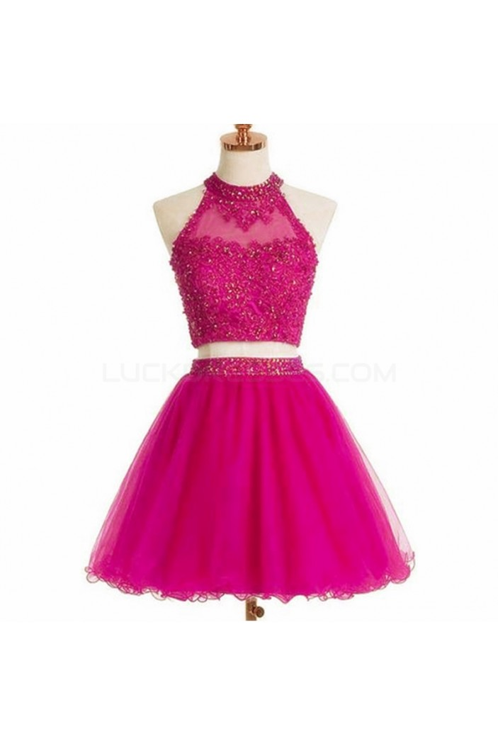 Beaded Lace Two Pieces Short Prom Homecoming Cocktail Graduation Dresses 3021188