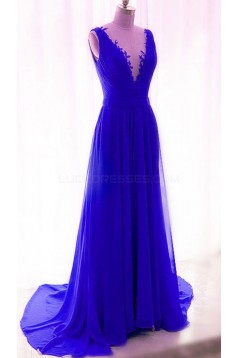 Long Blue Lace Chiffon V-Neck Prom Formal Evening Party Dresses 3021189