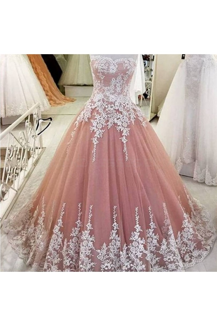 Ball Gown Lace Appliques Long Prom Formal Evening Party Dresses 3021190