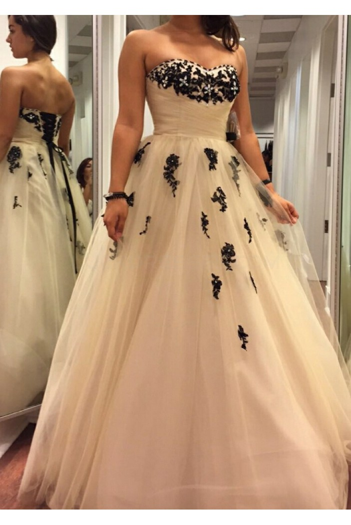 Beaded Black Lace Appliques Tulle Ball Gown Prom Formal Evening Party Dresses 3021193