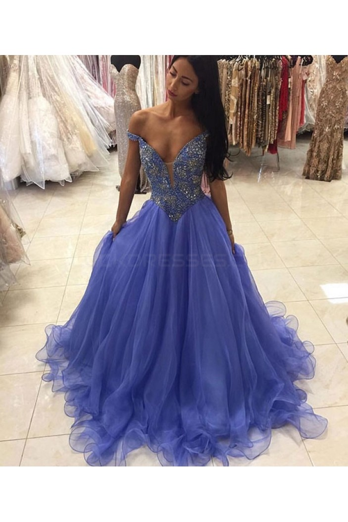Beaded Off-the-Shoulder Long Prom Formal Evening Party Dresses 3021194