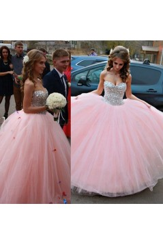 Beaded Sweetheart Long Pink Tulle Ball Gown Prom Formal Evening Party Dresses 3021197