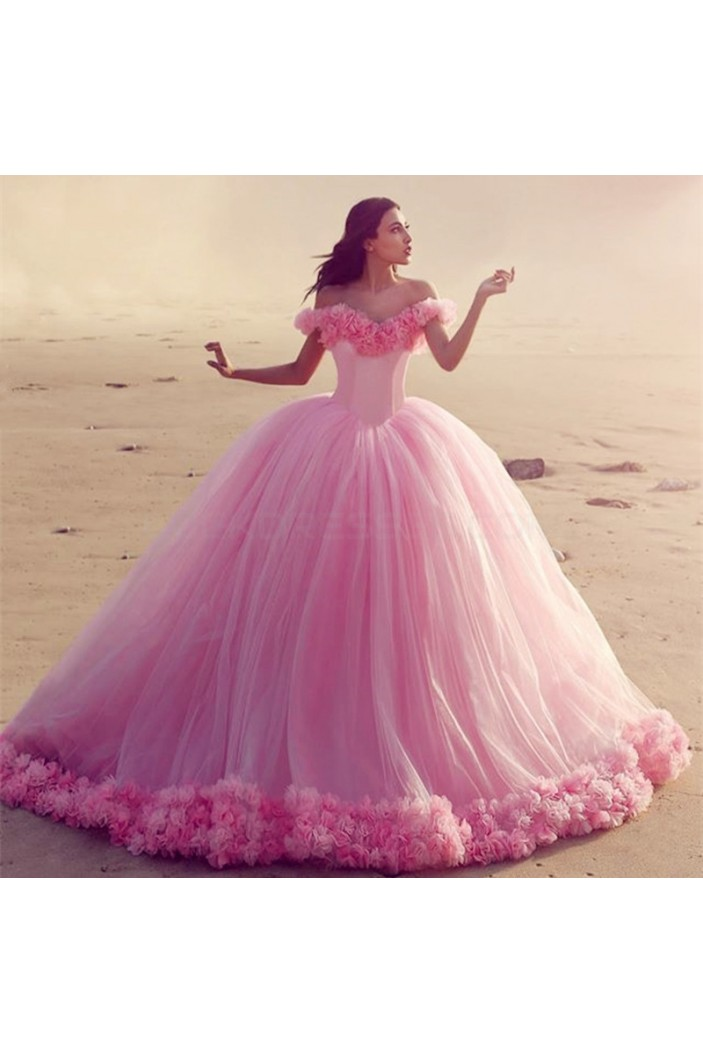 Long Pink Off-the-Shoulder Ball Gown Prom Prom Formal Evening Party Dresses 3021198