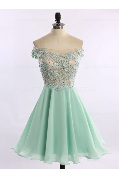 A-Line Off-the-Shoulder Chiffon Lace Appliques Prom Evening Homecoming Cocktail Dresses 3020120