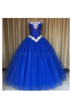 Tulle Ball Gown Long Blue Prom Formal Evening Party Dresses 3021200