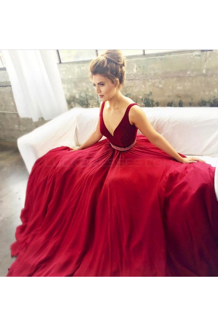 Beaded Long V-Neck Prom Formal Evening Party Dresses 3021203