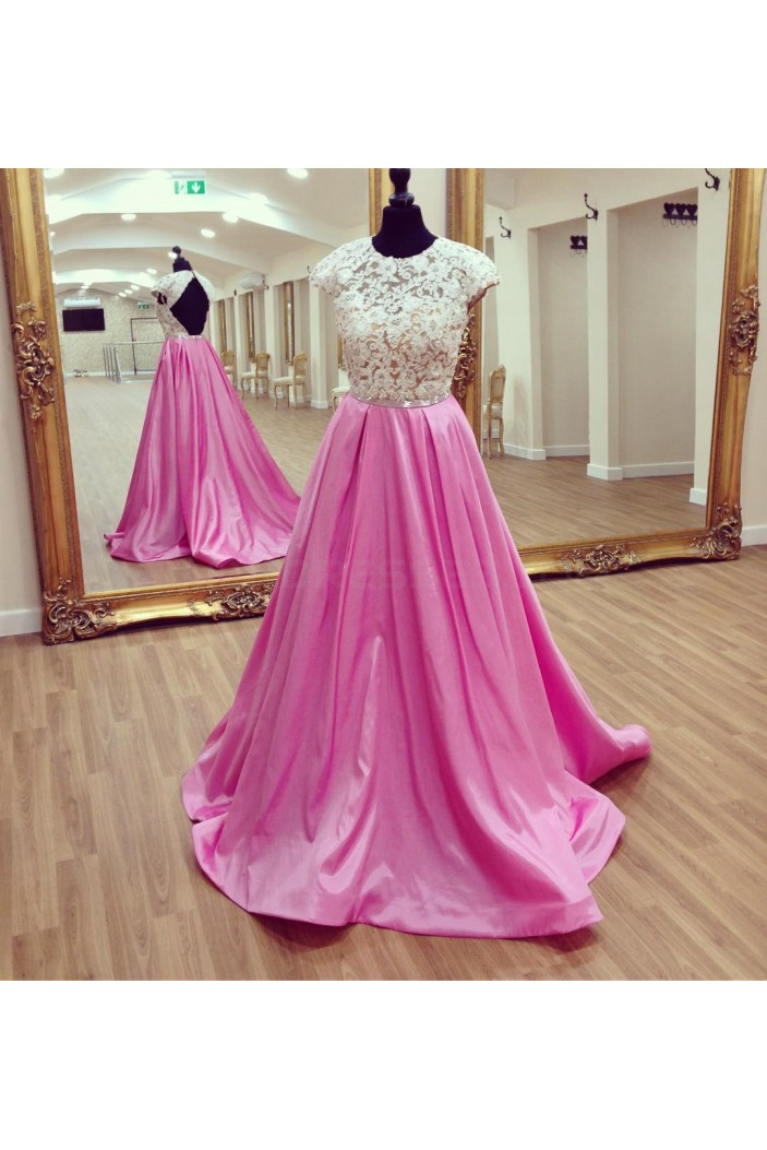 Long Pink Cap Sleeves Lace Prom Formal Evening Party Dresses 3021204