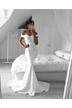 Long White Mermaid Off-the-Shoulder Long Prom Formal Evening Party Dresses 3021205