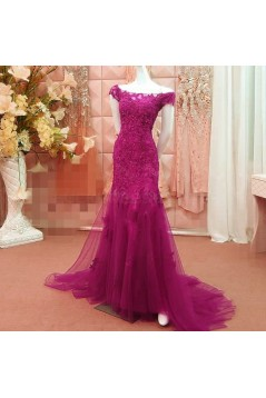 Long Red Beaded Lace Appliques Prom Formal Evening Party Dresses 3021206