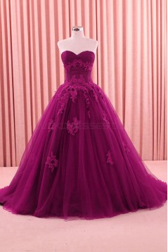 Ball Gown Lace Appliques Long Prom Formal Evening Party Dresses 3021207