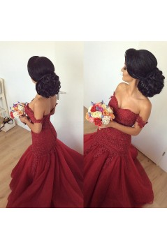 Mermaid Off-the-Shoulder Lace Appliques Prom Formal Evening Party Dresses 3021208