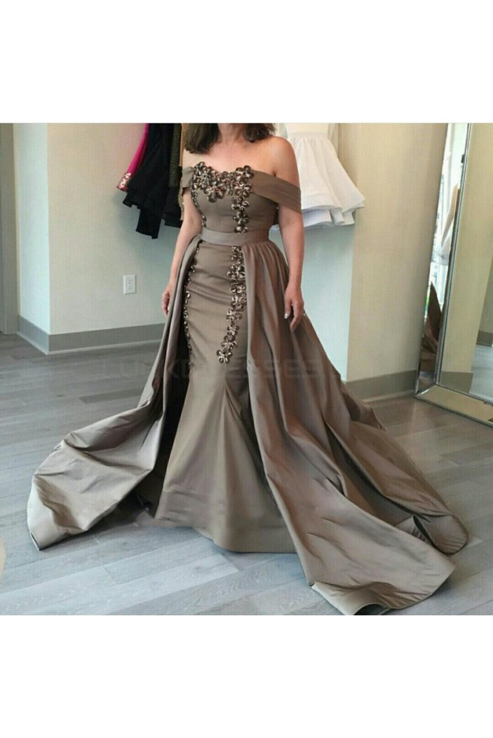 Mermaid Off-the-Shoulder Silver Long Prom Formal Evening Party Dresses 3021210