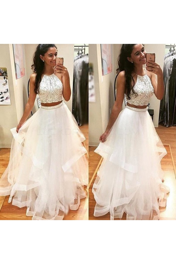 Beaded Two Pieces White Prom Formal Evening Party Dresses 3021211