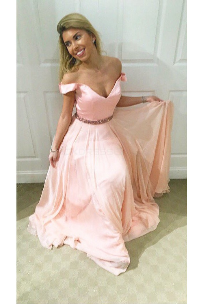Long Pink Beaded Off-the-Shoulder Prom Formal Evening Party Dresses 3021214