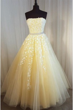 Beaded Lace Strapless Long Prom Formal Evening Party Dresses 3021215