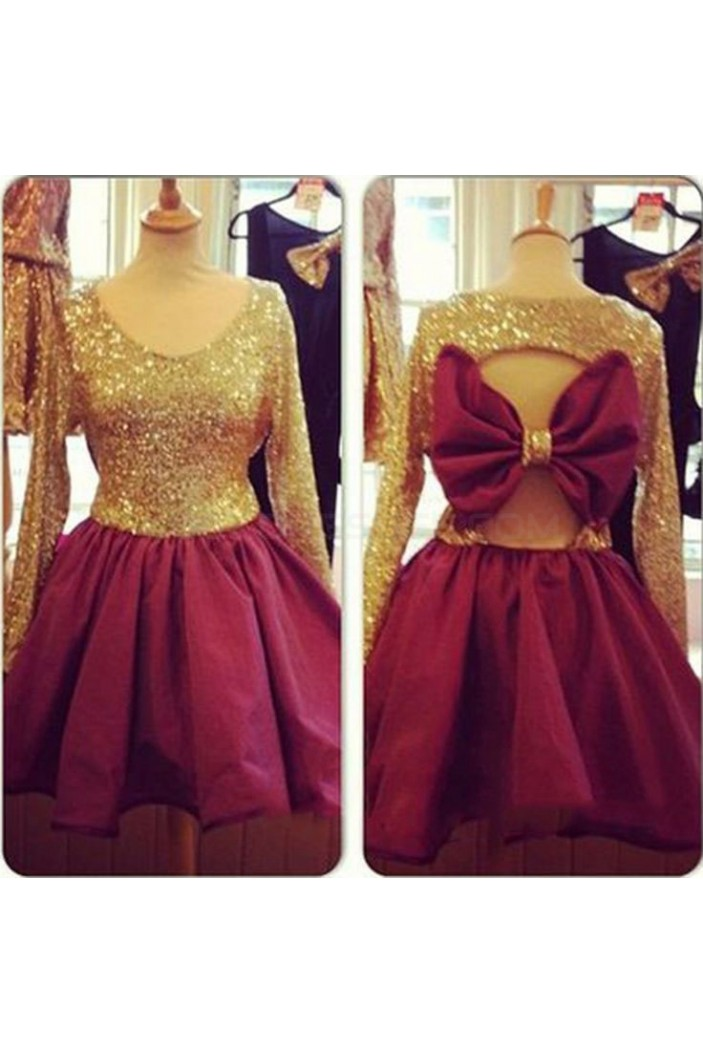 Long Sleeves Gold Sequins Short Prom Homecoming Cocktail Graduation Dresses 3021216