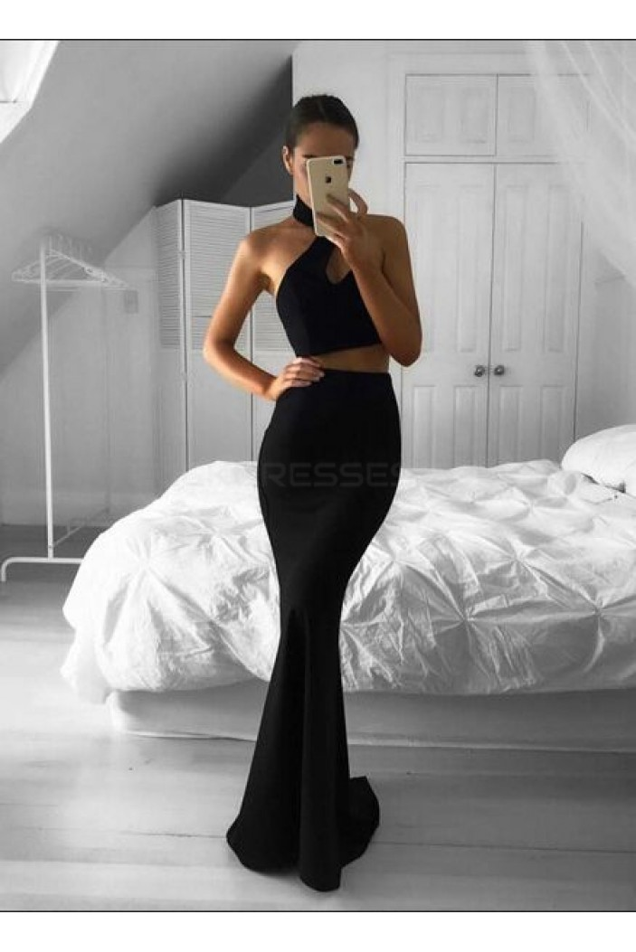 Halter Mermaid Long Black Two Pieces Prom Formal Evening Party Dresses 3021218