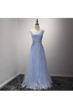 A-Line Long Blue Lace Prom Formal Evening Party Dresses 3021220
