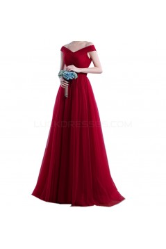 Long Red Off-the-Shoulder Prom Formal Evening Party Dresses 3021221