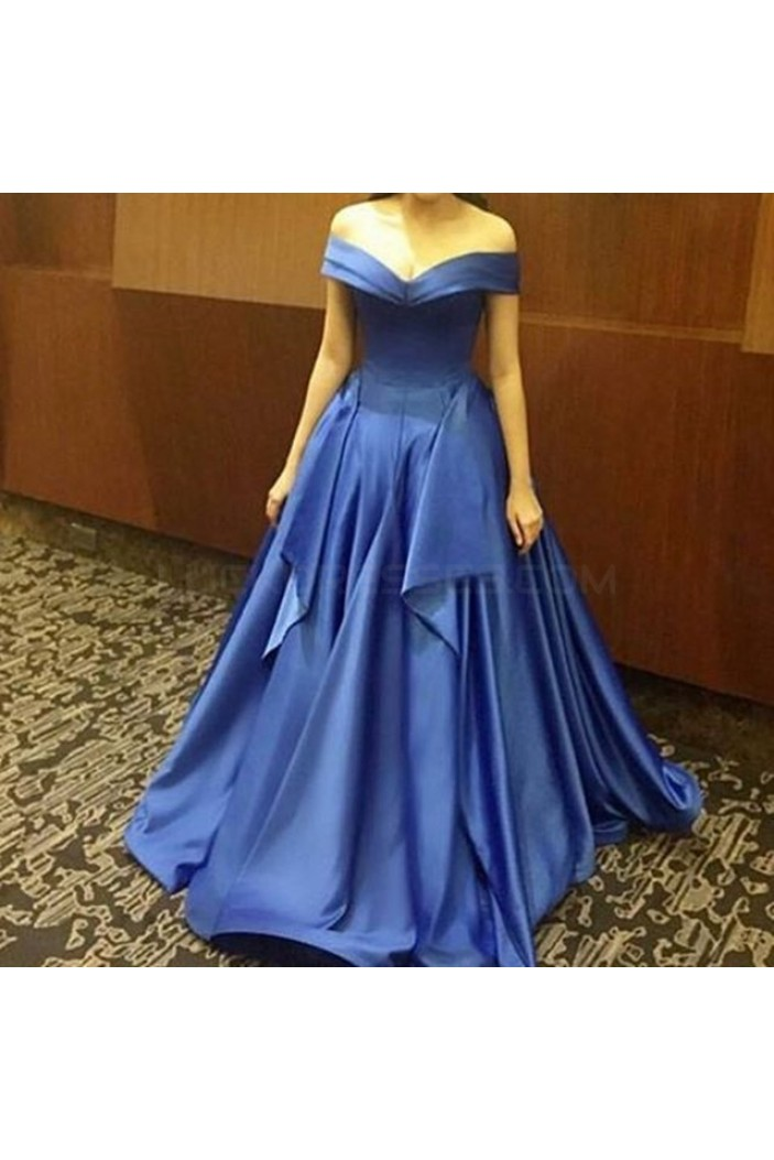 A-Line Off-the-SHoulder Long Blue Prom Formal Evening Party Dresses 3021225